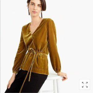 NWT J. Crew Faux-wrap top in Vintage Gold velvet